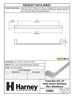 Product Data Specification Sheet Of A Towel Bar, 24 In., Westshore Bathroom Hardware Set  - Satin Nickel Finish - Product Number 23053