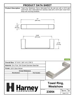 Product Data Specification Sheet Of A Towel Ring, Westshore Bathroom Hardware Set  - Satin Nickel Finish - Product Number 23054