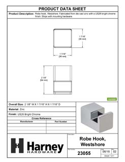 Product Data Specification Sheet Of A Robe Hook / Towel Hook, Westshore Bathroom Hardware Set  - Chrome Finish - Product Number 23055