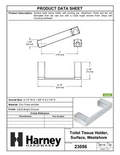 Product Data Specification Sheet Of A Toilet Paper Holder With Pivoting Bar, Westshore Bathroom Hardware Set - Chrome Finish - Product Number 23056