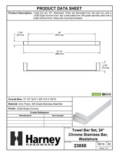 Product Data Specification Sheet Of A Towel Bar, 24 In., Westshore Bathroom Hardware Set  - Chrome Finish - Product Number 23058