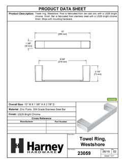 Product Data Specification Sheet Of A Towel Ring, Westshore Bathroom Hardware Set - Chrome Finish - Product Number 23059