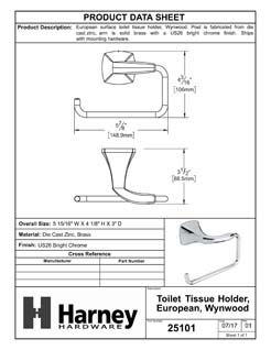 Product Data Specification Sheet Of A Toilet Paper Holder, European, Wynwood Bathroom Hardware Set  - Chrome Finish - Product Number 25101