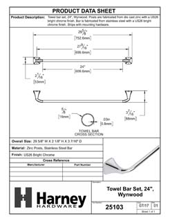 Product Data Specification Sheet Of A Towel Bar, 24 In., Wynwood Bathroom Hardware Set - Chrome Finish - Product Number 25103