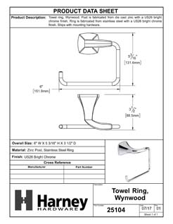Product Data Specification Sheet Of A Towel Ring, Wynwood Bathroom Hardware Set - Chrome Finish - Product Number 25104
