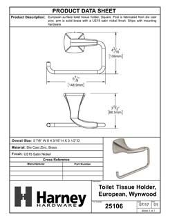 Product Data Specification Sheet Of A Toilet Paper Holder, European, Wynwood Bathroom Hardware Set - Satin Nickel Finish - Product Number 25106
