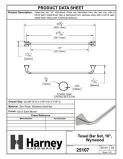 Product Data Specification Sheet Of A Towel Bar, 18 In., Wynwood Bathroom Hardware Set - Satin Nickel Finish - Product Number 25107