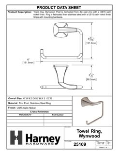 Product Data Specification Sheet Of A Towel Ring, Wynwood Bathroom Hardware Set - Satin Nickel Finish - Product Number 25109