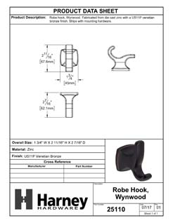 Product Data Specification Sheet Of A Robe Hook / Towel Hook, Wynwood Bathroom Hardware Set  - Venetian Bronze Finish - Product Number 25110
