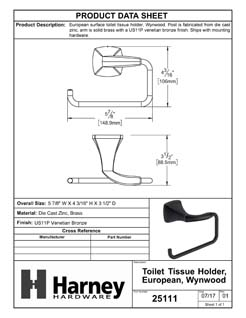 Product Data Specification Sheet Of A Toilet Paper Holder, European, Wynwood Bathroom Hardware Set  - Venetian Bronze Finish - Product Number 25111