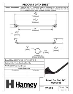 Product Data Specification Sheet Of A Towel Bar, 24 In., Wynwood Bathroom Hardware Set  - Venetian Bronze Finish - Product Number 25113