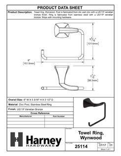 Product Data Specification Sheet Of A Towel Ring, Wynwood Bathroom Hardware Set - Venetian Bronze Finish - Product Number 25114