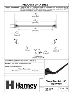 Product Data Specification Sheet Of A Towel Bar, 18 In., Wynwood Bathroom Hardware Set - Matte Black Finish - Product Number 25117