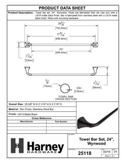 Product Data Specification Sheet Of A Towel Bar, 24 In., Wynwood Bathroom Hardware Set - Matte Black Finish - Product Number 25118