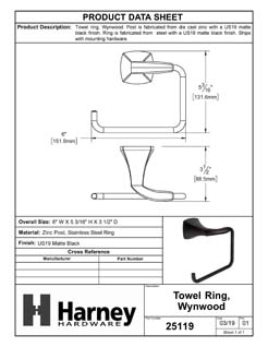 Product Data Specification Sheet Of A Towel Ring, Wynwood Bathroom Hardware Set - Matte Black Finish - Product Number 25119