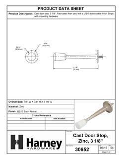 Product Data Specification Sheet Of A Cast Door Stop, 3 1/8 In. Projection - Satin Nickel Finish - Product Number 30652