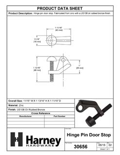 Product Data Specification Sheet Of A Hinge Pin Stop - Oil Rubbed Bronze Finish - Product Number 30656