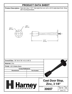 Product Data Specification Sheet Of A Cast Door Stop, 3 1/8 In. Projection - Matte Black Finish - Product Number 30657