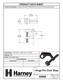 Product Data Specification Sheet Of A Hinge Pin Stop - Matte Black Finish - Product Number 30658