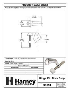 Product Data Specification Sheet Of A Hinge Pin Stop - Chrome Finish - Product Number 30691