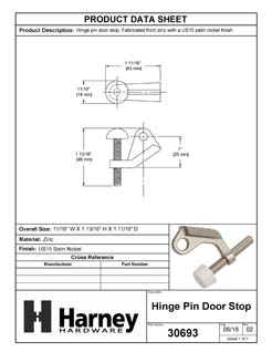 Product Data Specification Sheet Of A Hinge Pin Stop - Satin Nickel Finish - Product Number 30693
