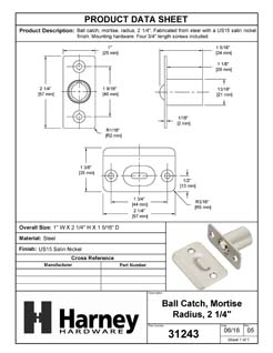 Product Data Specification Sheet Of A Cabinet Ball Catch, Mortise - Satin Nickel Finish - Product Number 31243