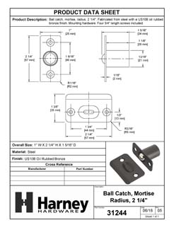 Product Data Specification Sheet Of A Cabinet Ball Catch, Mortise - Oil Rubbed Bronze Finish - Product Number 31244