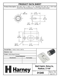 Product Data Specification Sheet Of A Cabinet Ball Catch, Drive In - Chrome Finish - Product Number 31245