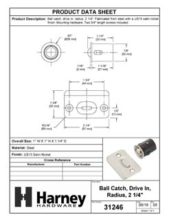 Product Data Specification Sheet Of A Cabinet Ball Catch, Drive In - Satin Nickel Finish - Product Number 31246