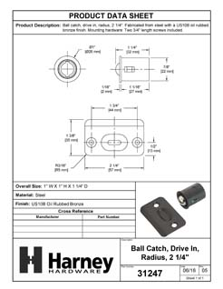 Product Data Specification Sheet Of A Cabinet Ball Catch, Drive In - Oil Rubbed Bronze Finish - Product Number 31247