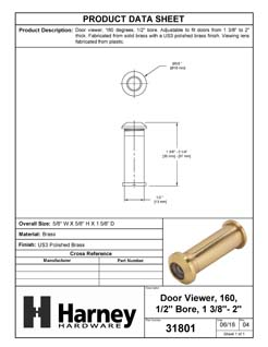 Product Data Specification Sheet Of A Door Peephole Viewer, 1/2 In. Bore 160 Degree Viewer - Polished Brass Finish - Product Number 31801