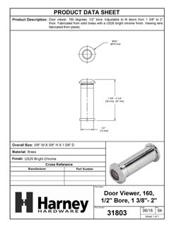 Product Data Specification Sheet Of A Door Peephole Viewer, 1/2 In. Bore 160 Degree Viewer - Chrome Finish - Product Number 31803