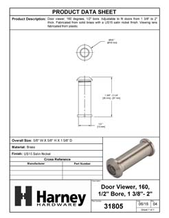 Product Data Specification Sheet Of A Door Peephole Viewer, 1/2 In. Bore 160 Degree Viewer - Satin Nickel Finish - Product Number 31805
