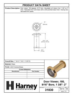 Product Data Specification Sheet Of A Door Peephole Viewer, 9/16 In. Bore 180 Degree Viewer - Polished Brass Finish - Product Number 31830