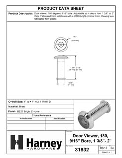 Product Data Specification Sheet Of A Door Peephole Viewer, 9/16 In. Bore 180 Degree Viewer - Chrome Finish - Product Number 31832