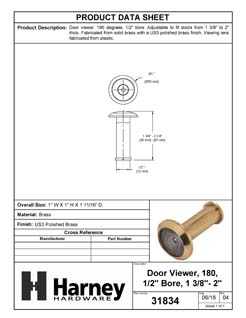Product Data Specification Sheet Of A Door Peephole Viewer, 1/2 In. Bore 180 Degree Viewer - Polished Brass Finish - Product Number 31834