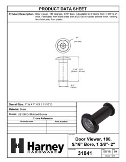 Product Data Specification Sheet Of A Door Peephole Viewer, 9/16 In. Bore 180 Degree Viewer - Oil Rubbed Bronze Finish - Product Number 31841
