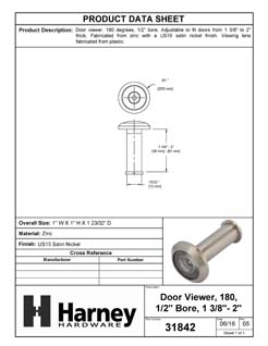 Product Data Specification Sheet Of A Door Peephole Viewer, 1/2 In. Bore 180 Degree Viewer - Satin Nickel Finish - Product Number 31842