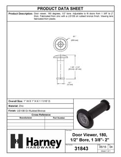 Product Data Specification Sheet Of A Door Peephole Viewer, 1/2 In. Bore 180 Degree Viewer - Oil Rubbed Bronze Finish - Product Number 31843