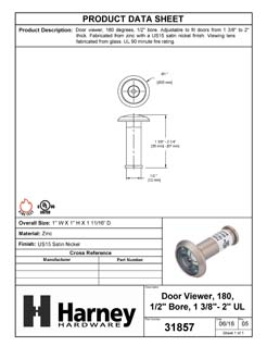 Product Data Specification Sheet Of A Door Peephole Viewer, With 1/2 In. Bore 180 Degree UL Fire Rated Viewer - Satin Nickel Finish - Product Number 31857