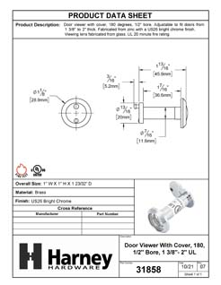 Product Data Specification Sheet Of A Door Peephole Viewer, With 1/2 In. Bore 180 Degree UL Fire Rated Viewer - Chrome Finish - Product Number 31858