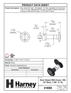 Product Data Specification Sheet Of A Door Peephole Viewer, With 1/2 In. Bore 180 Degree UL Fire Rated Viewer - Oil Rubbed Bronze Finish - Product Number 31859