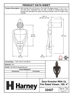 Product Data Specification Sheet Of A Door Knocker Viewer, 4 In. With 1/2 In. Bore 160 Degree UL Fire Rated Viewer - Oil Rubbed Bronze Finish - Product Number 32427
