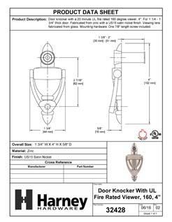 Product Data Specification Sheet Of A Door Knocker Viewer, 4 In. With 1/2 In. Bore 160 Degree UL Fire Rated Viewer - Satin Nickel Finish - Product Number 32428