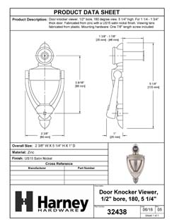Product Data Specification Sheet Of A Door Knocker Viewer, 5 1/4 In. With 1/2 In. Bore 180 Degree Viewer - Satin Nickel Finish - Product Number 32438