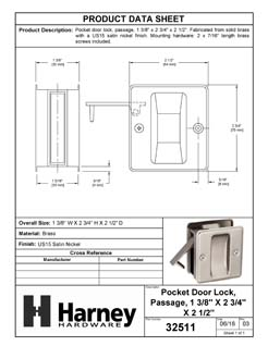Product Data Specification Sheet Of A Pocket Door Lock, Passage, Solid Brass, 2 1/2 In. X 2 3/4 In. - Satin Nickel Finish - Product Number 32511
