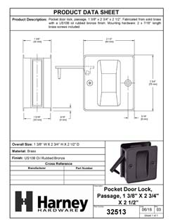 Product Data Specification Sheet Of A Pocket Door Lock, Passage, Solid Brass, 2 1/2 In. X 2 3/4 In. - Oil Rubbed Bronze Finish - Product Number 32513