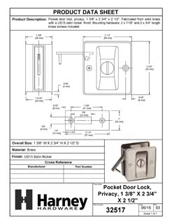 Product Data Specification Sheet Of A Pocket Door Lock, Privacy, Solid Brass, 2 1/2 In. X 2 3/4 In. - Satin Nickel Finish - Product Number 32517
