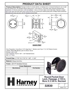 Product Data Specification Sheet Of A Round Pocket Door Lock, Passage, 2 1/8 In. Bore X 2 3/8 In. Backset - Venetian Bronze Finish - Product Number 32530