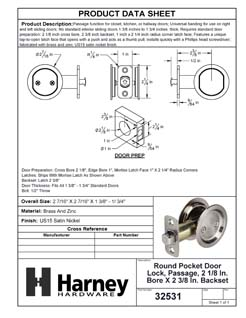 Product Data Specification Sheet Of A Round Pocket Door Lock, Passage, 2 1/8 In. Bore X 2 3/8 In. Backset - Satin Nickel Finish - Product Number 32531